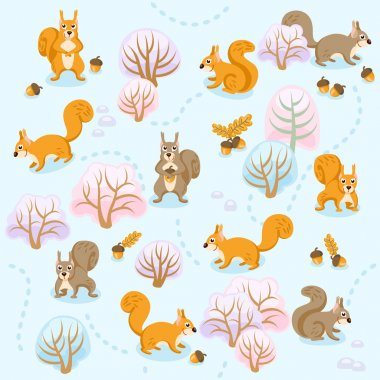 Seamless pattern of winter forest with squirrels between trees