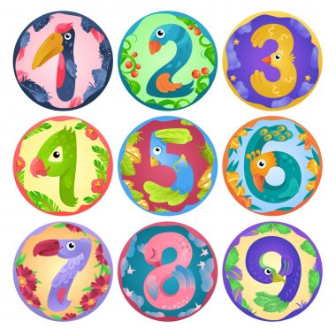 Stickers from numbers like birds in fairy style