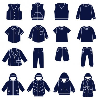 Icon set of types of clothes for boys and teenagers