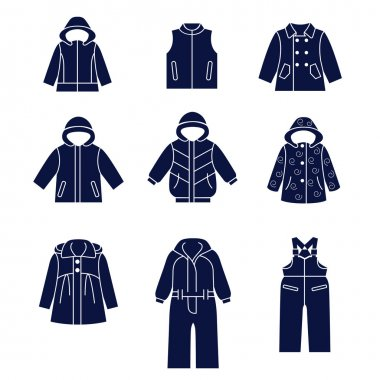 Icon set of types of winter clothes for children