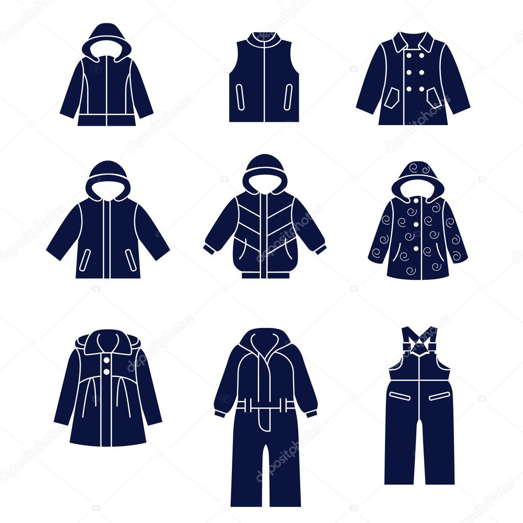 1e2b6efd65 Icon set of types of winter clothes for children — Stock Vector ...