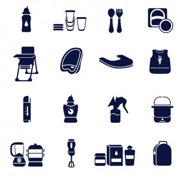 Flat icons set for feeding a baby