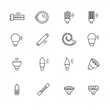 Types of light bulbs for different types of lighting as line icons