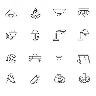 Types of lighting for indoor use as line icons