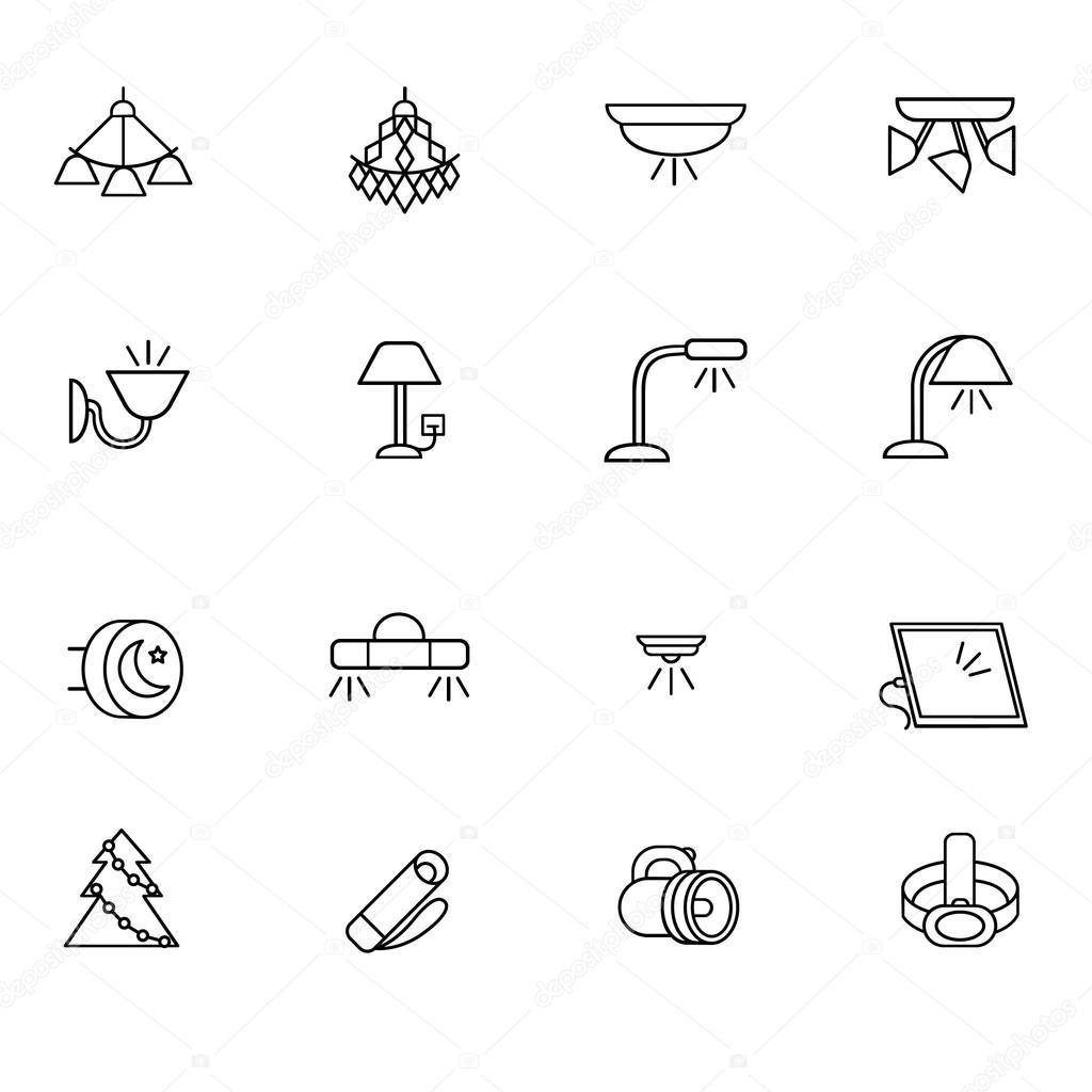 Soorten verlichting voor gebruik binnenshuis als lijn pictogrammen ...