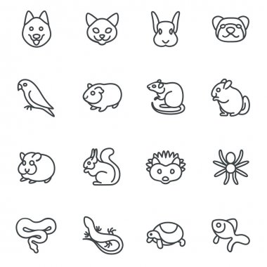 The most popular pets as line icons