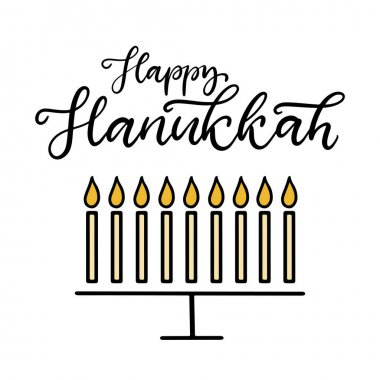 Happy Hanukkah calligraphic lettering vector illustration. The concept of celebration the traditional religious Jewish holiday. Menorah with candles. icon