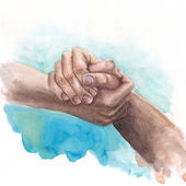 Fotografie Watercolor background with shaking hands