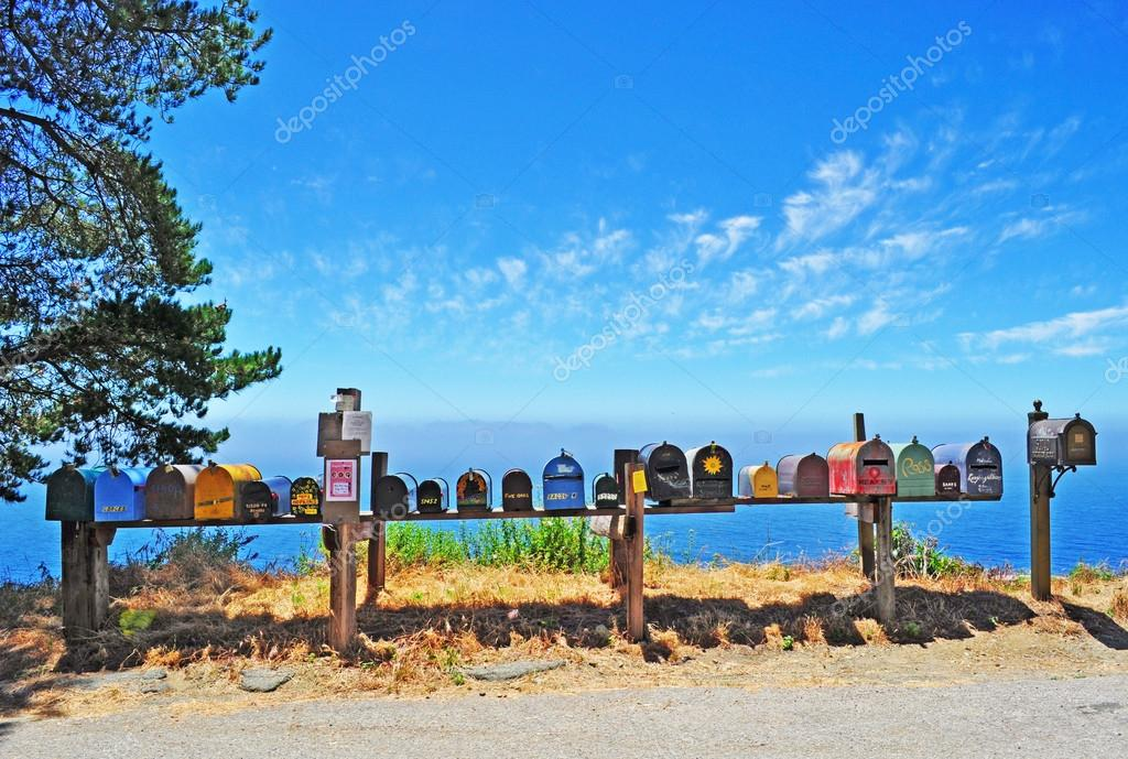 California, Usa: Big Sur, post office boxes in the middle of nowhere
