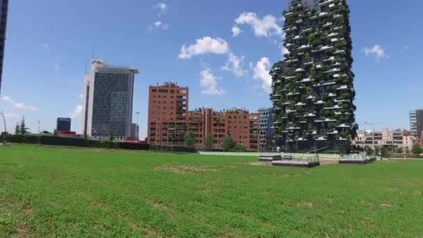 Milan, Italy - May 16, 2016: Unicredit Tower and skyscrapers of Porta Garibaldi, Vertical Forest and tower Solaria