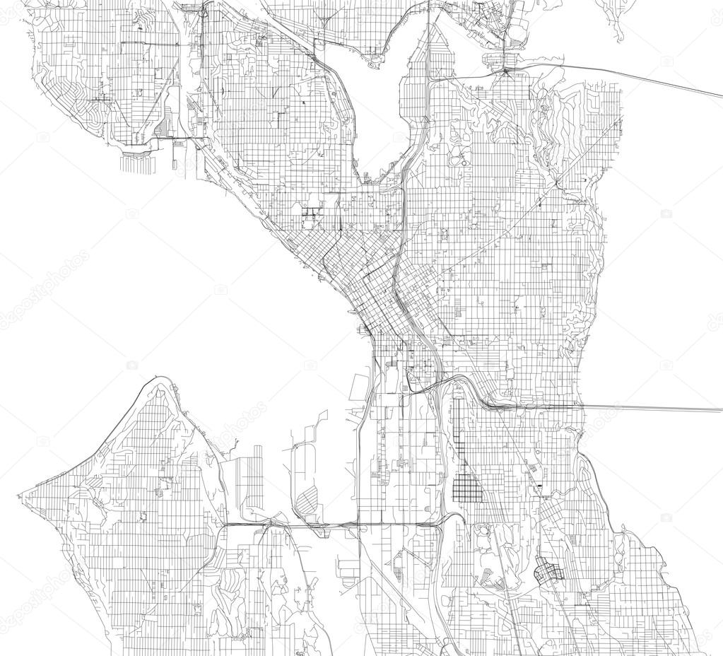 Seattle map satellite view Stock Vector vampy1 110772150