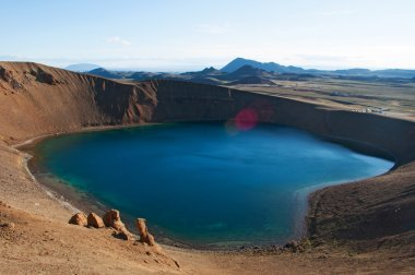 Iceland: panoramic view of the Viti crater and lake