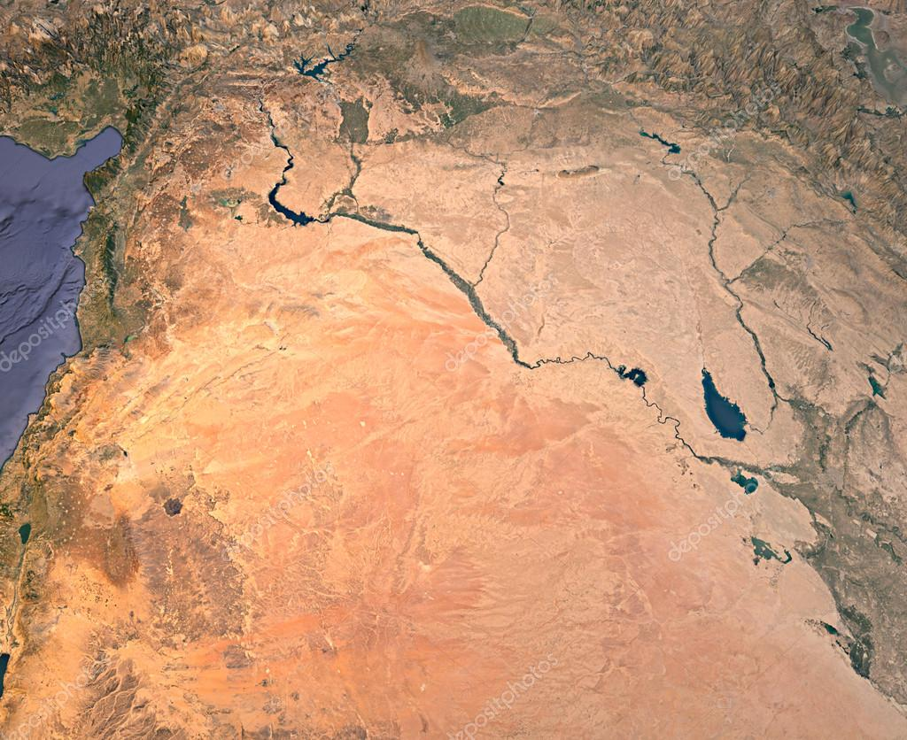 Syria and Iraq, satellite view, map, 3d rendering, land ...