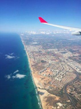 Israel: the shoreline of Tel Aviv seen from a plane