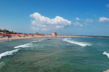 Tel Aviv, Israel, Middle East: panoramic view of the Mediterranean Sea and Metzitzim Beach, a family friendly bay and beach near the Tel Aviv Port named after a 1972 comedy film
