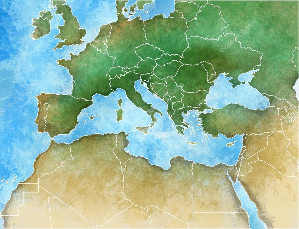 Mittelmeer Karte.Handgezeichnete Karte Von Mittelmeer Europa Afrika Und Nahost