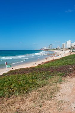 Tel Aviv, Israel, Middle East: the seafront and skyline of Tel Aviv, city founded in 1909 by the Yishuv (Jewish residents) as a modern housing estate on the outskirts of the ancient port city of Jaffa, seen from the promenade of Jaffa