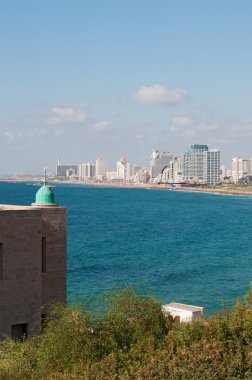 Tel Aviv, Israel, Middle East: the seafront and skyline of Tel Aviv with the Mediterranean Sea seen from the minaret of the Al Bahr Mosque, the oldest extant mosque in the old city of Jaffa, one of the most ancient port city in Israel