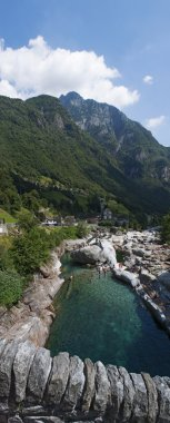 Switzerland: the Verzasca River seen from the Bridge of the Jumps