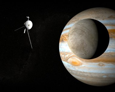 Satellite Europa and space probe Voyager