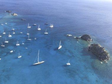 Gustavia harbor with sailboats