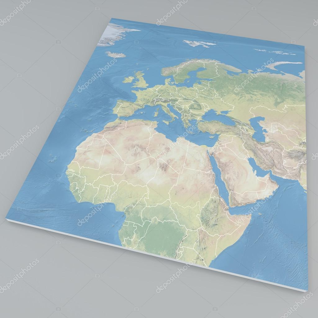 Carte De Lafrique Et Leurope.Vue Satellite De L Afrique Et L Europe Carte Photographie