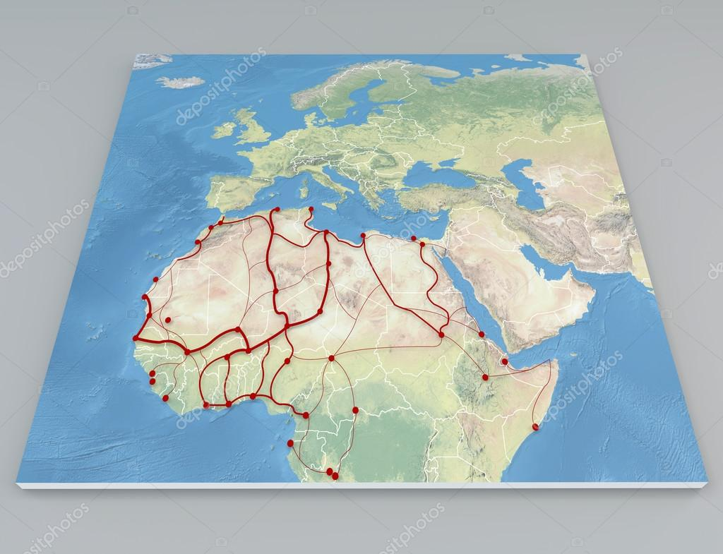 Satellite view of Africa migration route and Europe map Stock