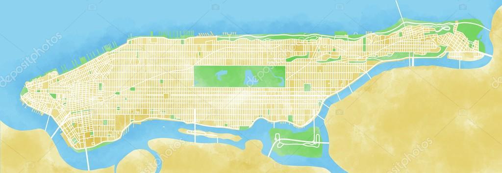 Map Of Manhattan Island Stock Photo Vampy - Manhattan island map