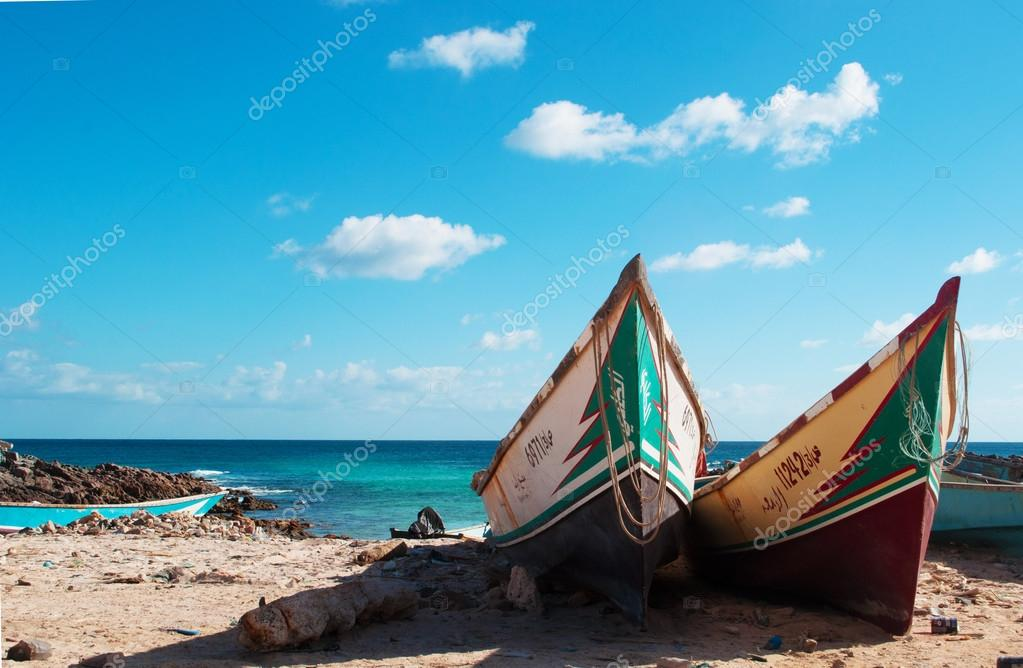 Boats on the beach of Ras Erissel, the eastern cape of Socotra island, Yemen
