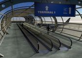 3d Landing airplane and airport terminal