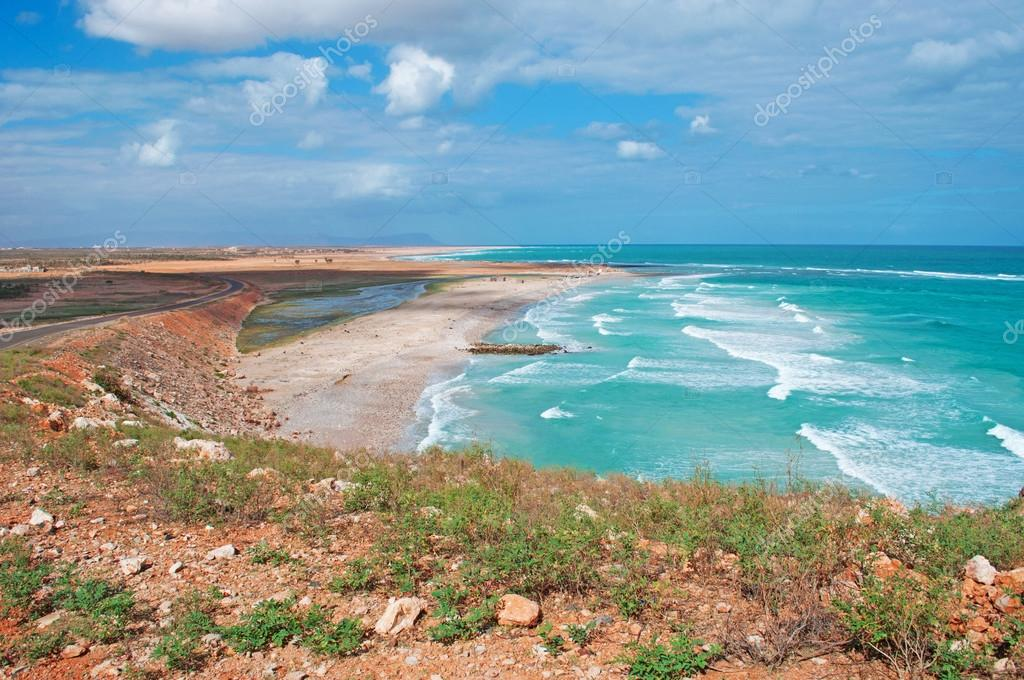 Overview of Arabian Sea, cliffs and red rocks, trees, waves, Socotra island, Yemen