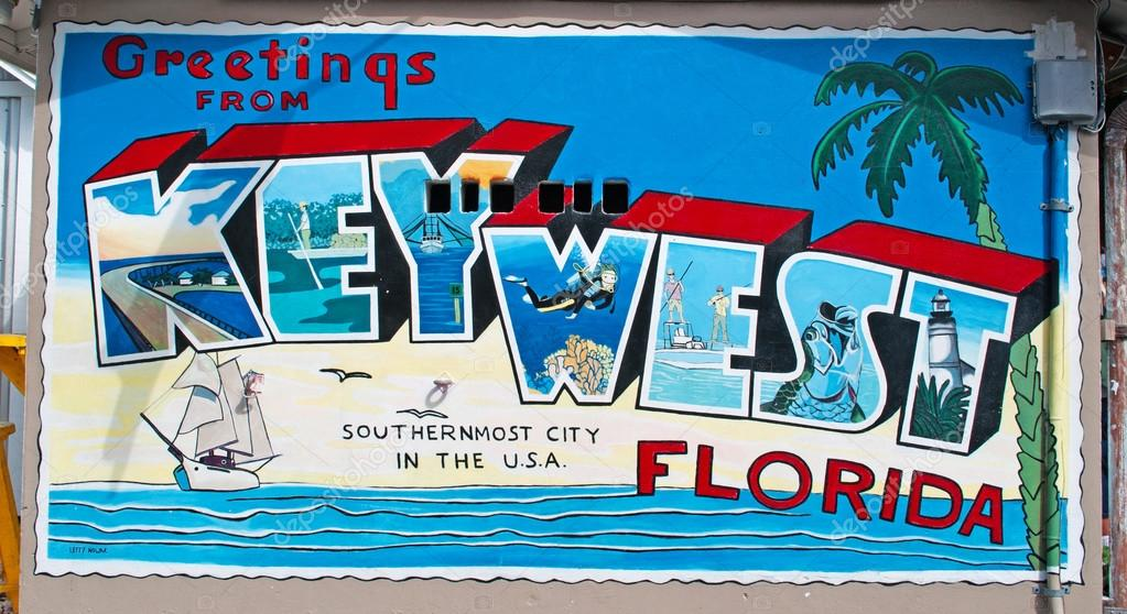 greetings postcard wall graffiti murals drawings street art key west keys cayo hueso. Black Bedroom Furniture Sets. Home Design Ideas