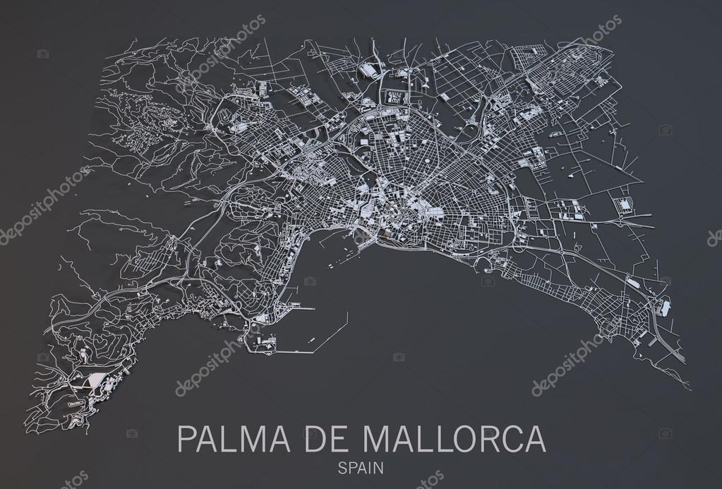 Palma de Majorque, vue satellite, carte, Baléares, Espagne ...