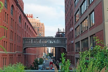 New York City: Chelsea neighborhood seen from the High Line, a famous linear park, greenway and rail trail built on an elevated section of the disused Central RailRoad spur called the West Side Line