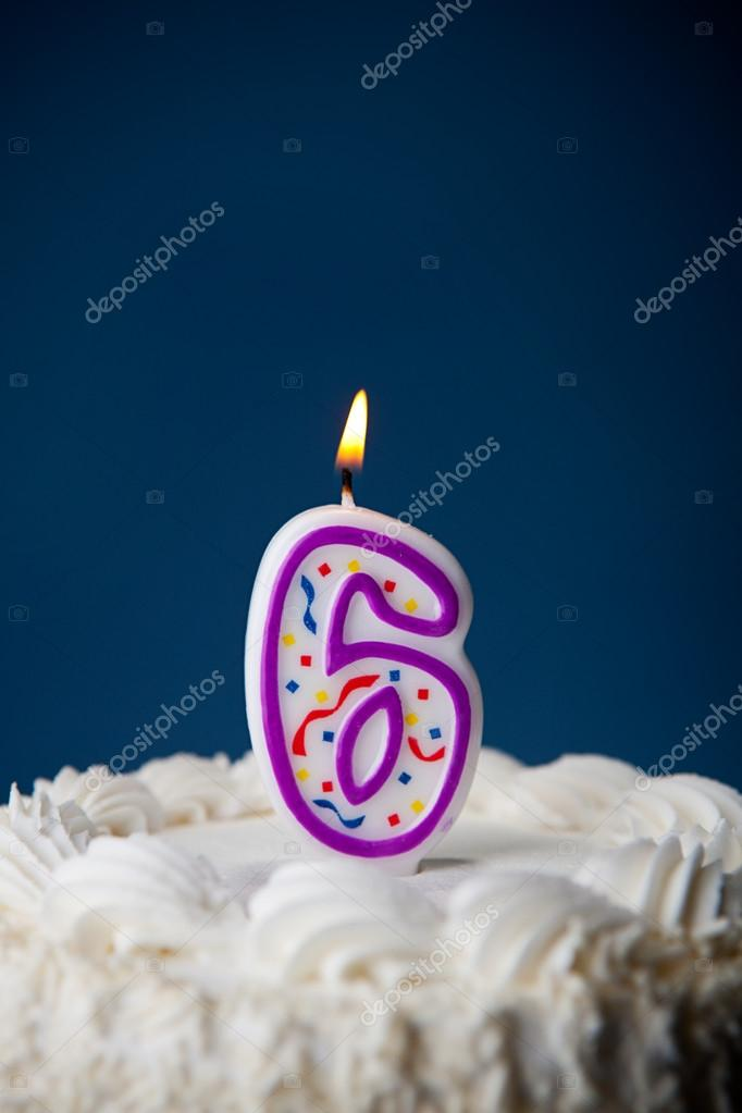 Cake Birthday With Candles For 6th Stock Photo
