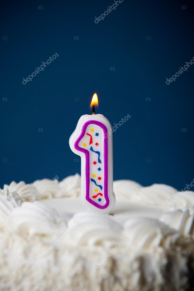 Cake Birthday With Candles For 1st Stock Photo