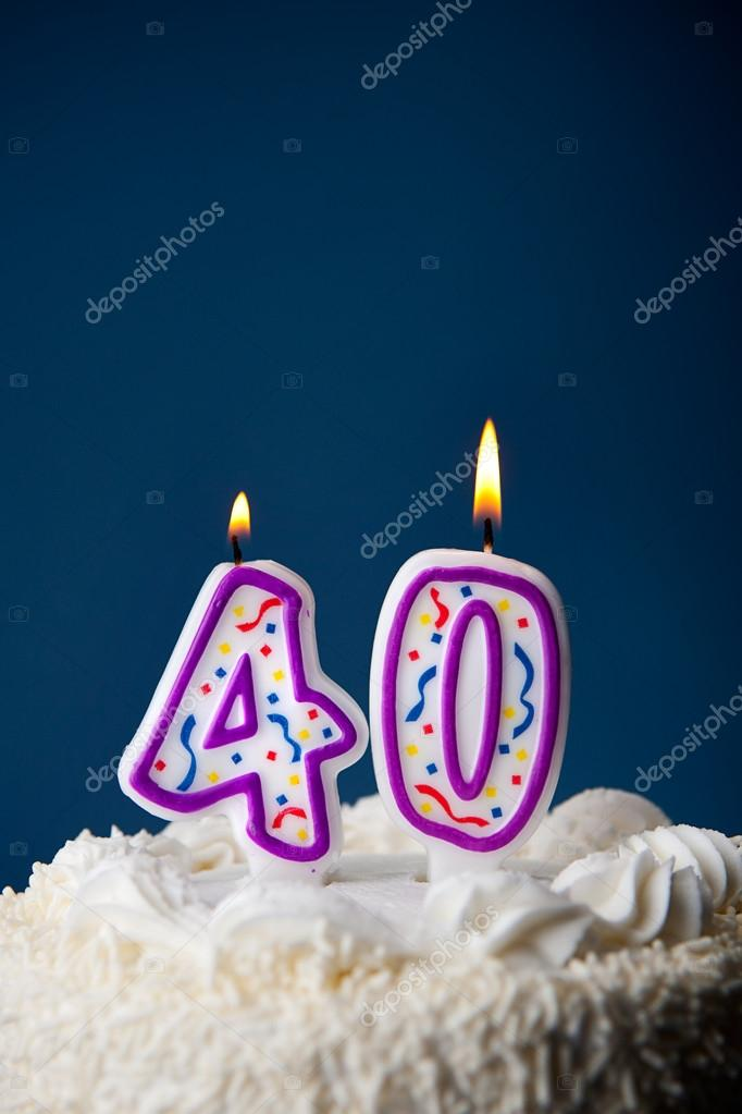 Cake Birthday With Candles For 40th Stock Image