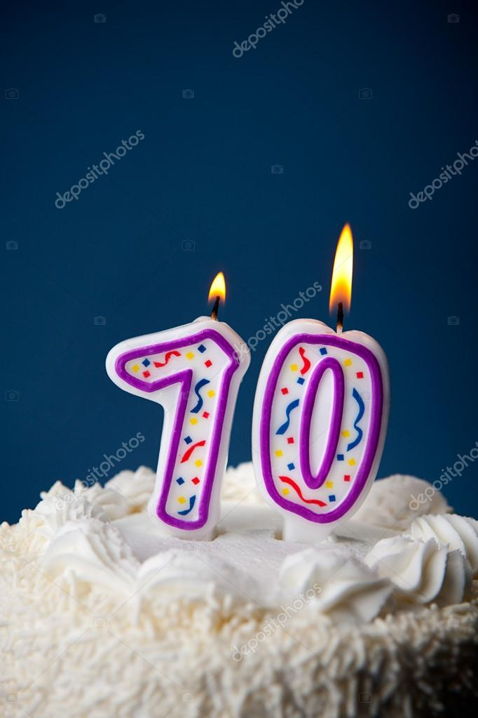 Cake Birthday With Candles For 70th Stock Image