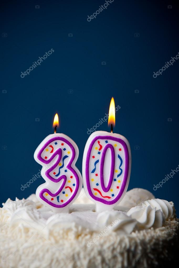 Cake Birthday With Candles For 30th Stock Image