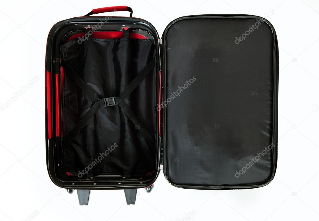 371fe089c5 Bagaglio: Valigia Rossa aperta e vuota, isolato su bianco– immagine stock