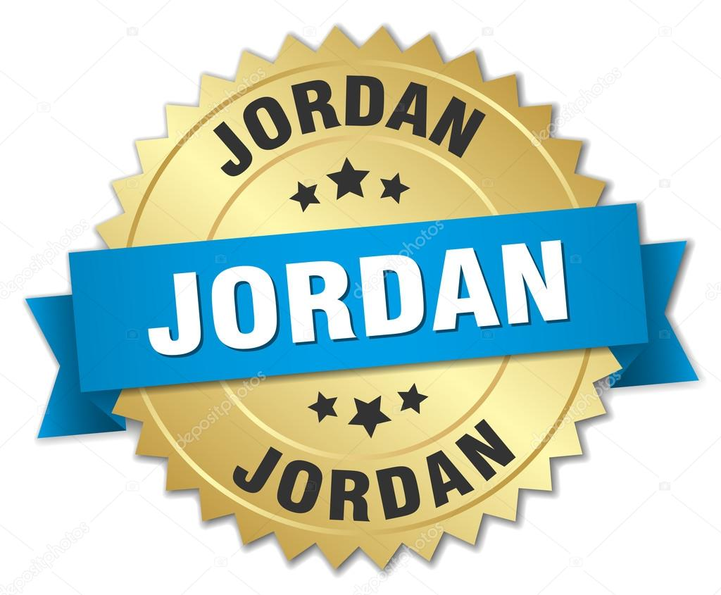 Jordan Round Golden Badge With Blue Ribbon Stock Vector