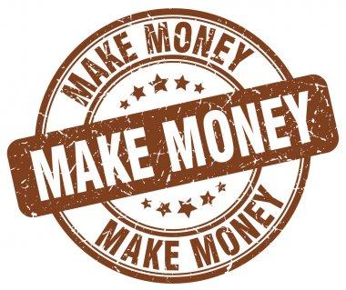 make money brown grunge round vintage rubber stamp