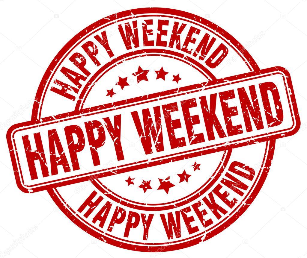 happy weekend red grunge round vintage rubber stamp happy weekend