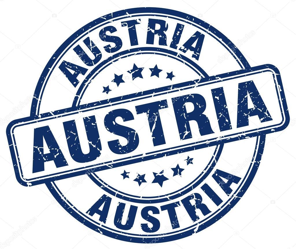 Austria Blue Grunge Round Vintage Rubber StampAustria