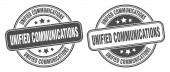 Unified Communications Stempel. vereinheitlichte Kommunikationszeichen. rundes Grunge-Label