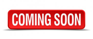 coming soon red three-dimensional square button isolated on white background