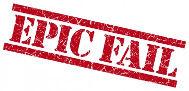 epic fail red grungy stamp isolated on white background