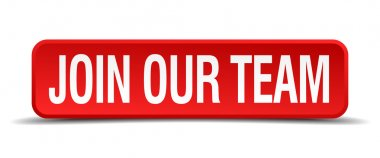 Join our team red 3d square button isolated on white