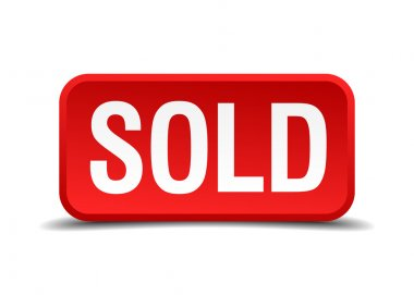 Sold red 3d square button isolated on white