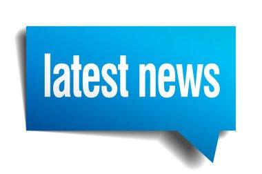 latest news blue 3d realistic paper speech bubble